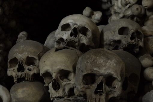 Collection of skulls in the Kutna Hora Bone Church in the Czech Republic