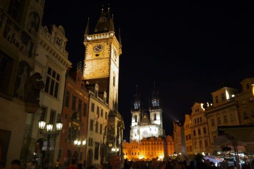 Prague Old Town Square lit up at Night