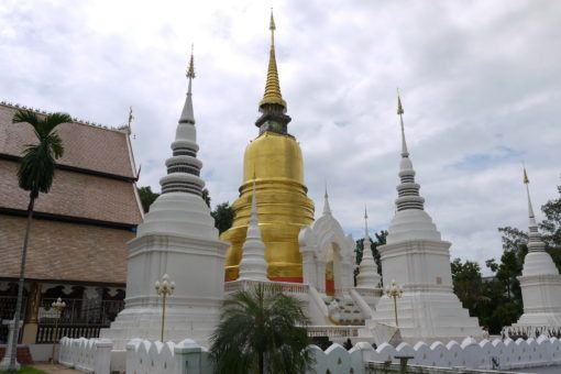 Gold and white pagodas at Wat Suan Dok in Chiang Mai