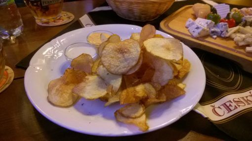 Homemade crisps in a pub in Prague