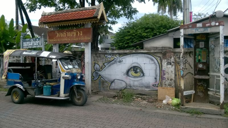 A Tuk Tuk and street art in Chiang Mai, Thailand