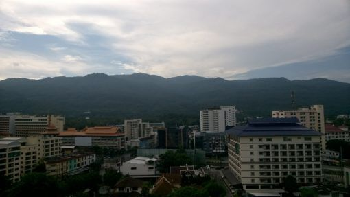 View of the mountains from our apartment in Chiang Mai