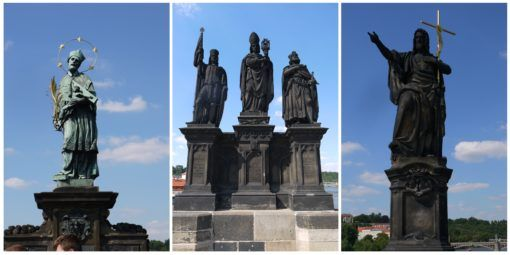 Collage of Baroque statues on the Charles Bridge in Prague