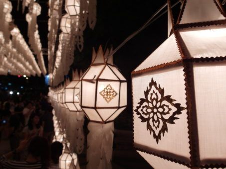 All White paper lanterns at the Yi Peng lantern festival 2016 in Chiang Mai, Thailand