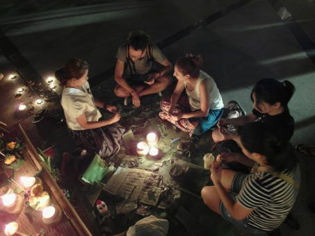 People making Krathongs for Loy Krathong festival in Chiang Mai, Thailand