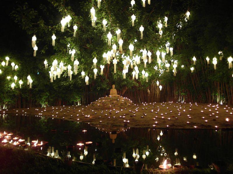 Lantern display at Wat Phan Tao temple for Yi Peng Festival 2016
