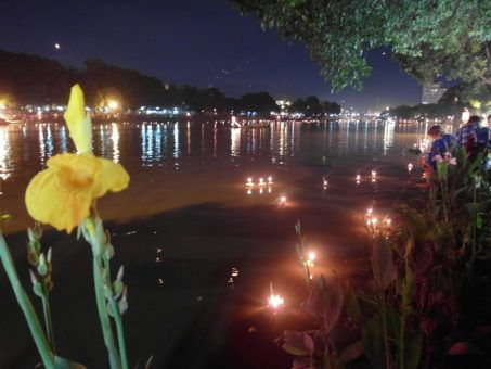 Krathongs floating on the Mae Ping River, Chiang Mai, Thailand