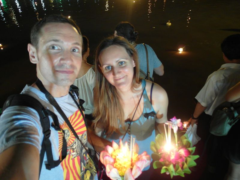 Andrew and I about to release our Krathongs into the River Ping during Loy Krathong