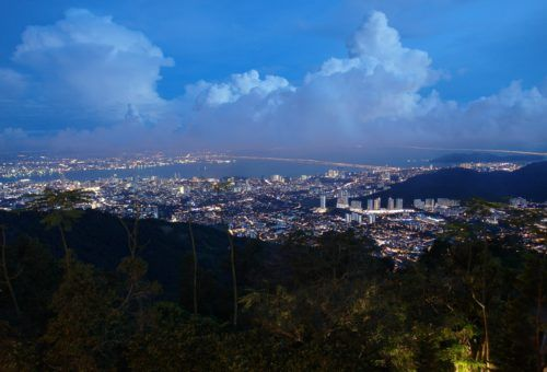 View of Georgetown, Penang at night from Penang Hill