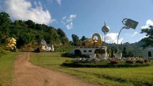 Giant teapot statues at Wang Put Tan Tea Plantation, Mae Salong