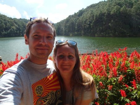 Us at Pang Ung resevoir in Thailand