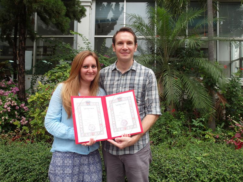 Us with our Thai Marriage Certificates at the Amphur Office in Chiang Mai