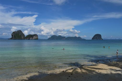 Koh Ngai Beach looking out to the Andaman sea karst formations