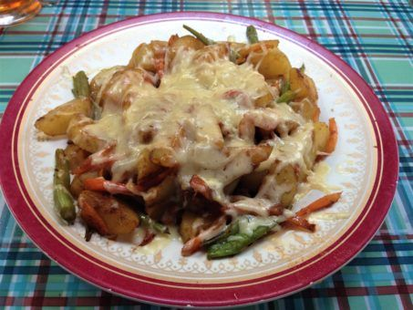Fried potato, veg and cheese on the Everest Base Camp Trek