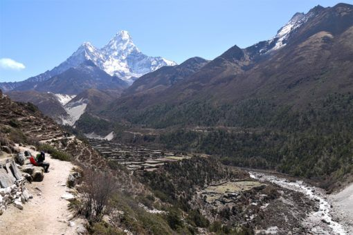View of the Himalayas along the Everest Base Camp Trek in Nepal
