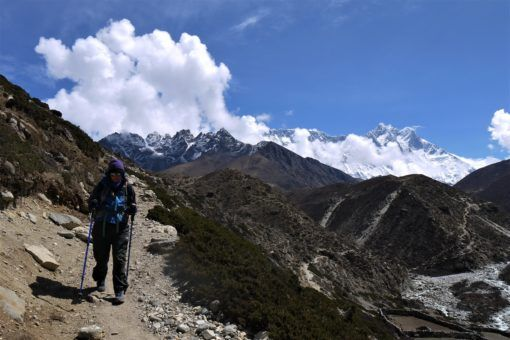 Me hiking along the road to Everest Base Camp in Nepal