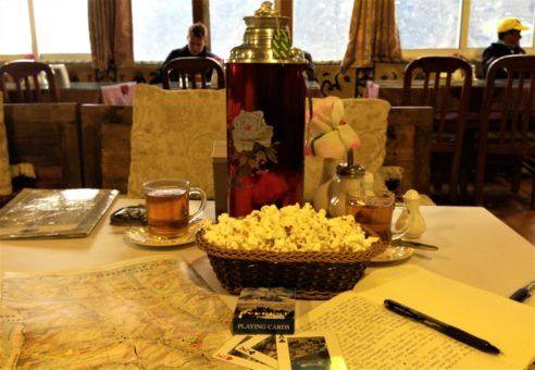 Tea flask and popcorn in Namche Bazaar