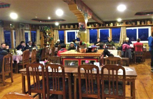 The dining room at Khumbu Lodge, Namche Bazaar