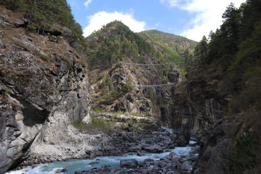 Everest Base Camp Trek suspension bridges on the trail to Namche Bazaar