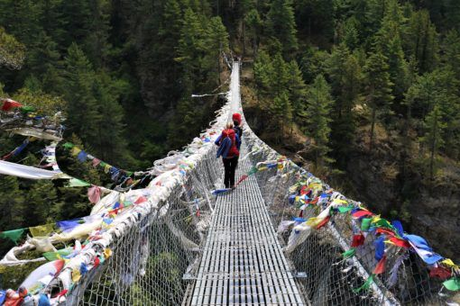 Suspension bridge on the Everest Base Camp Trek