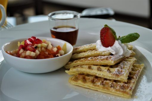 Breakfast waffles at Theva Residency in Kandy