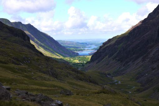 View from the Pyg Track of valleys in Snowdon National Park