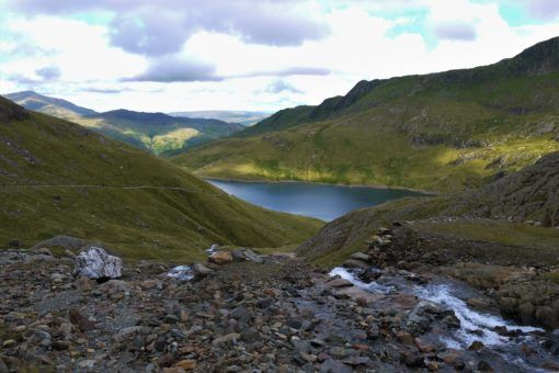 View of the lakes while hiking up Mount Snowdon in Wales