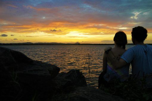 Us watching the sunset over the lake in Polonnaruwa