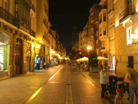 A main street in Logrono, Spain at night