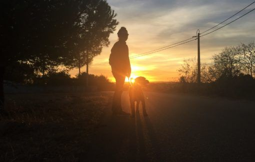Amy walking the dog at sunset