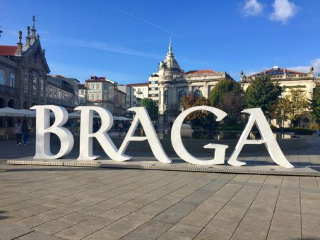 Huge Braga sign in Braga, Portugal