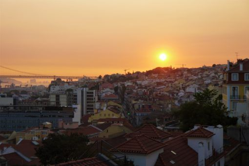 View over Lisbon at sunset from the Bairro Alto area