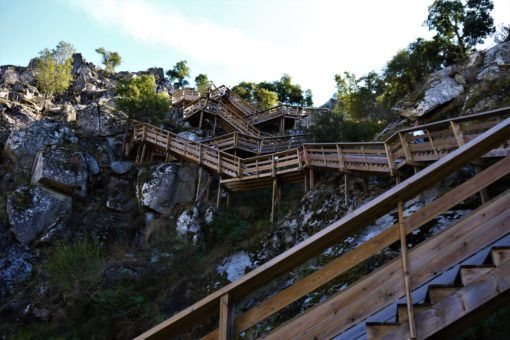 The steep boardwalk at Passadicos do Paiva in Portugal