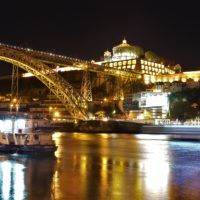 Dom Luis Bridge by night in Porto, Portugal