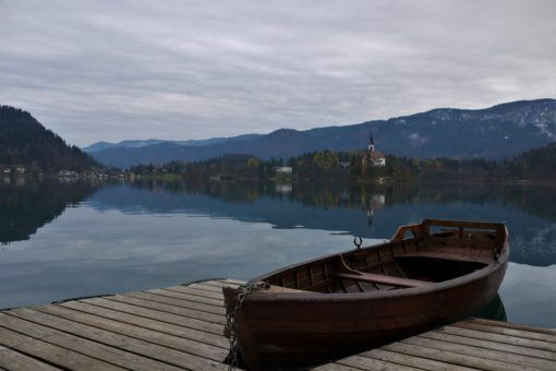 Rowing boat on Lake Bled, Slovenia