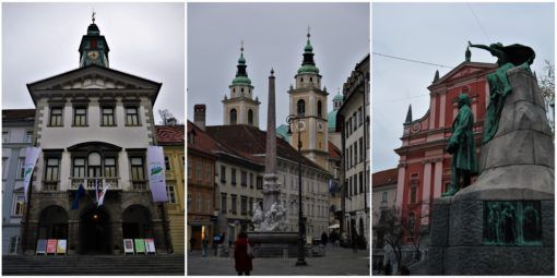 Ljubljana's City Streets, The Town Hall, Cathedral and Joze Precnik Statue