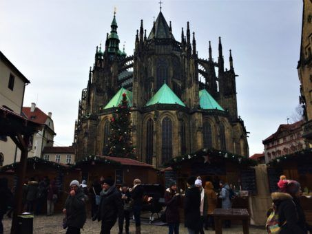 St George's Basilica at Prague Castle Christmas Market, Czech Republic