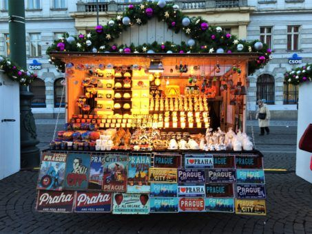Typical Prague souvenir stall at the Christmas Markets