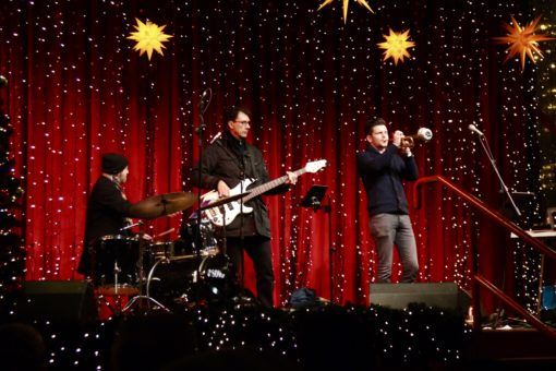 Jazzcity playing Christmas songs atthe Cologne Christmas Market, Germany