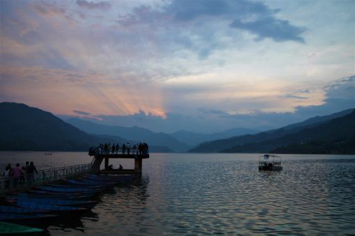 Sunset over the lake in Pokhara, Nepal