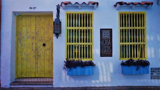 Beautiful blue-painted house in Cartagena, Colombia