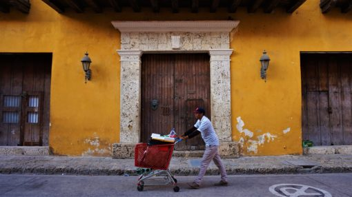 Picturesque doors and buildings in Cartagena