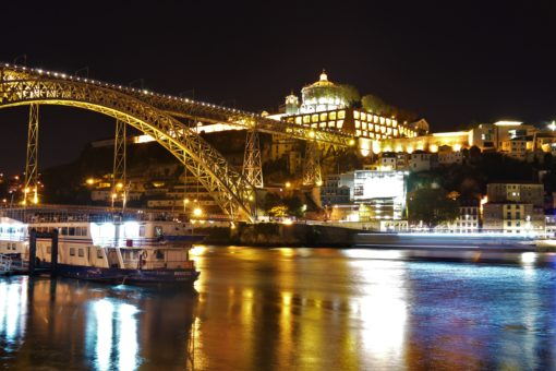 The Douro River in Porto and Dom Luis I Bridge at night
