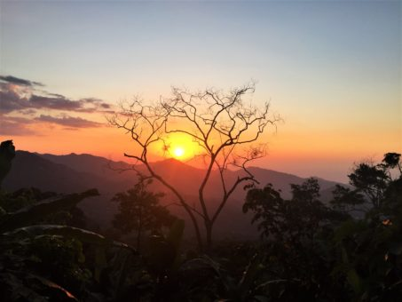 The sun setting over the Sierra Nevada de Santa Marta, Colombia