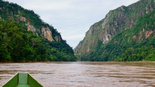 On a boat going down the river in the Bolivian Amazon rainforest