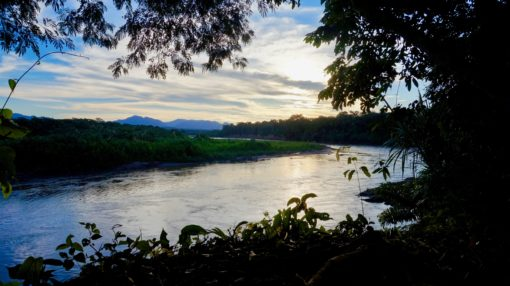 Sunset view of the Amazon over the river at Madidi Jungle Ecolodge, Bolivia