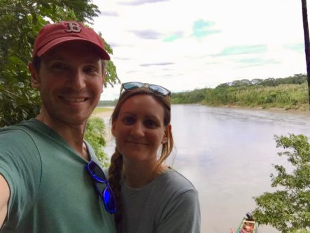 Selfie of Andrew and I in the Bolivian Amazon, at Madidi Jungle Ecolodge