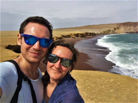 Us at Red Sand Beach, Paracas National Reserve, Peru