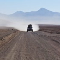4x4 jeep driving in the desert on a Salar de Uyuni tour, Bolivia