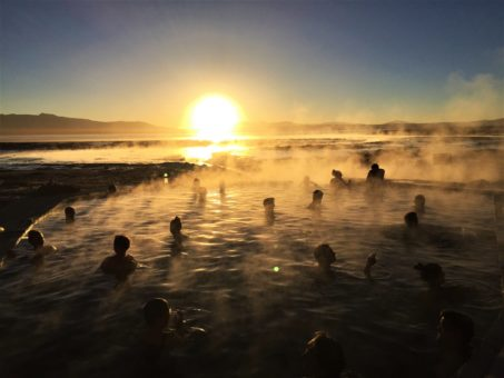 The thermal baths at sunrise in the Siloli Desert. Bolivia